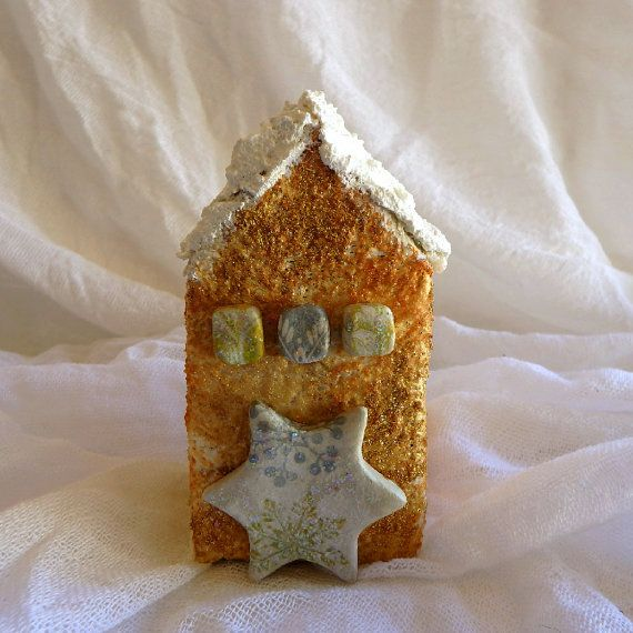 Christmas gift ceramic ornament Christmas miniature house glitter decoration ceramic decor holiday atmosphere