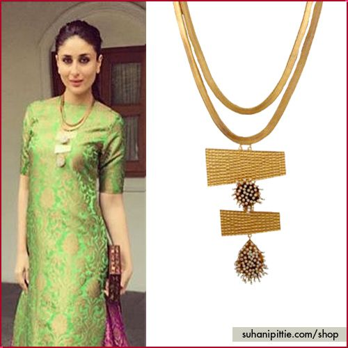 The gorgeous Kareena Kapoor Khan at the International Children's Film Festival in Hyderabad in a necklace from the 'Autumn Landscape Collection. Get yours @ http://www.suhanipittie.com/royal-golden-and-pearl-cluster-layered-necklace.html  #KareenaKapoor #CelebrityJewelry #CelebrityTrends  #SuhaniPittie #CoutureJewellery #StyleStatement #Hyderabad #Heritage #19thInternationalChildrensFilmFestival #Pearls