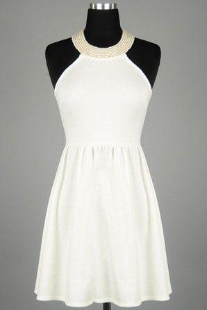 #salediem #blackandwhite #springfashion  Pearl Necklace Jersey Dress with Cold Shoulder Cut Bodice