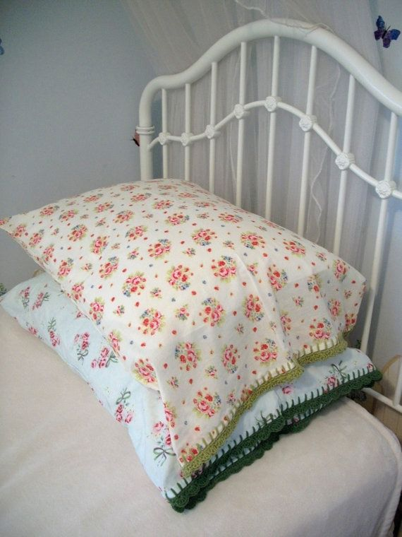 Pillowcase With Crochet Trim - Delicate White and Rose by Downy&Floral