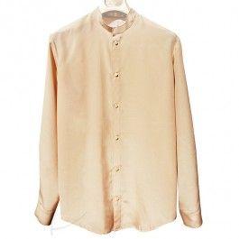 Beżowa koszula jedwabna. Do zamówienia w dowolnym rozmiarze i kolorze latkafashion.com