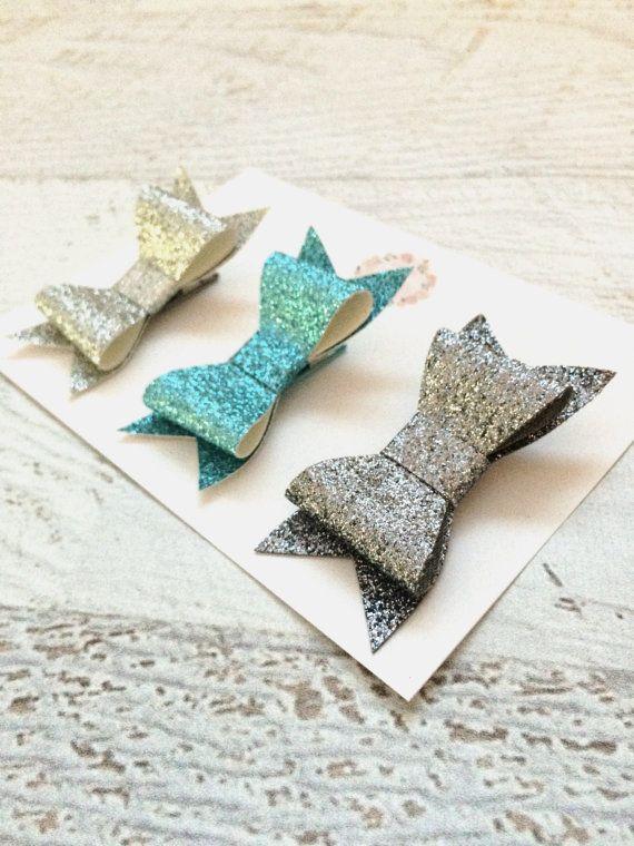 Glitter Hair Bows  Sparkle Hair Bows  Hair Bows  by MiniMayDesigns