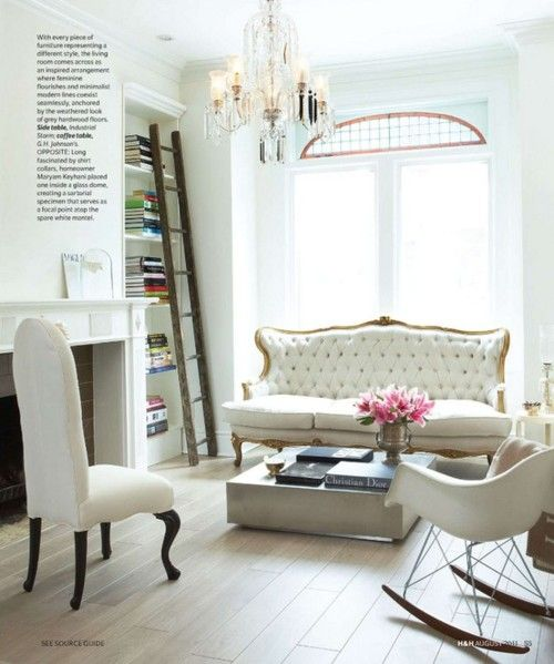 natural light, high ceilings, vintage pieces mixed with more modern art.