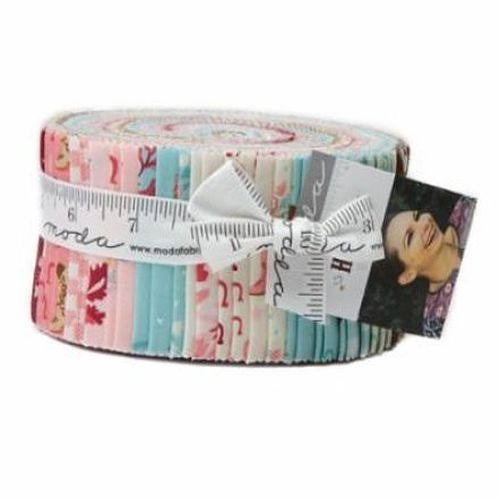 "Giddy Up with Howdy by Stacey lest Hsu for Moda jelly roll fabric features cowgirls, cowboys, flowers and stick horses  1 unit =  42 x 2.5"" strips each measures 2.5"" x 44"""