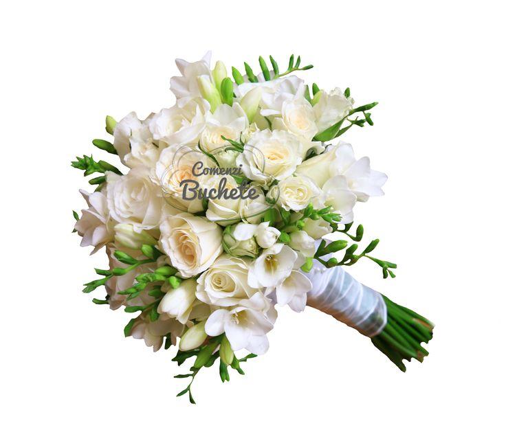 Buchet de mireasa complet alb, de o eleganta deosebita, din trandafiri albi si frezii albe. Feminin, cochet, special!