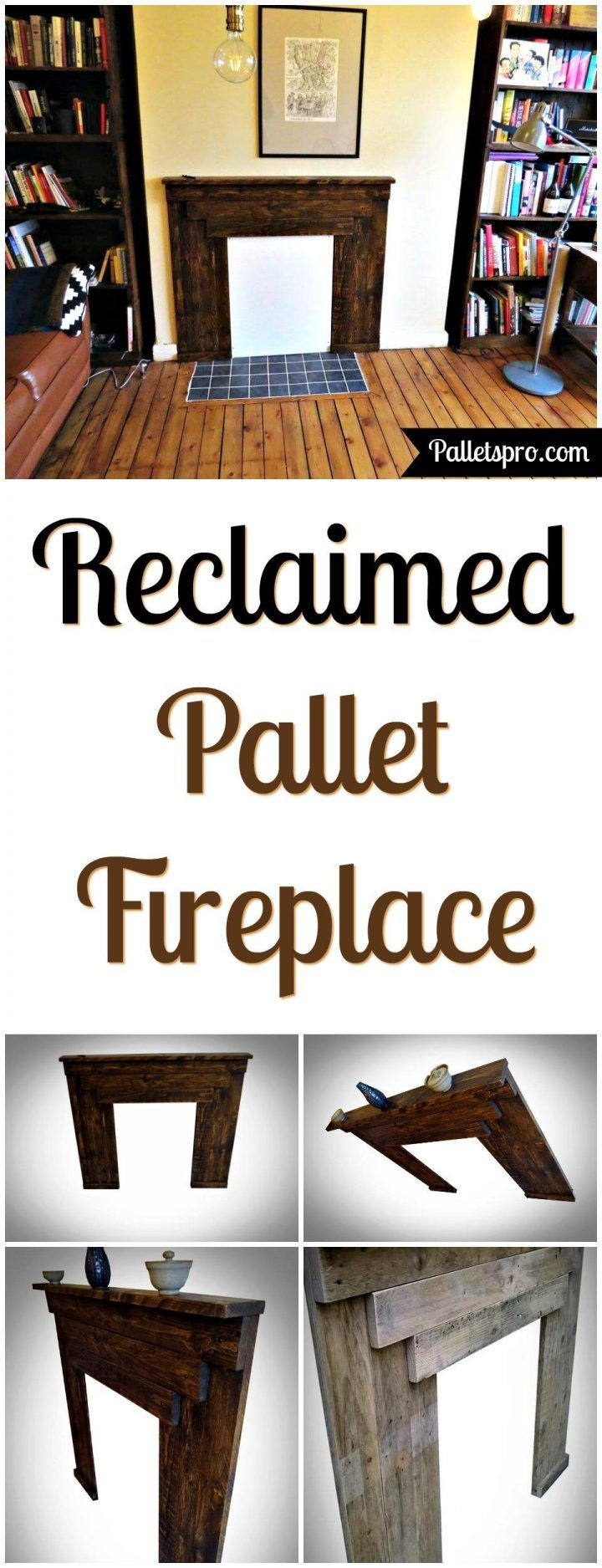 Reclaimed Pallet Fireplace Mantle