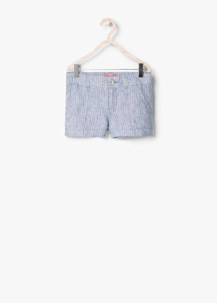 Льняные шорты в полоску | MANGO KIDS