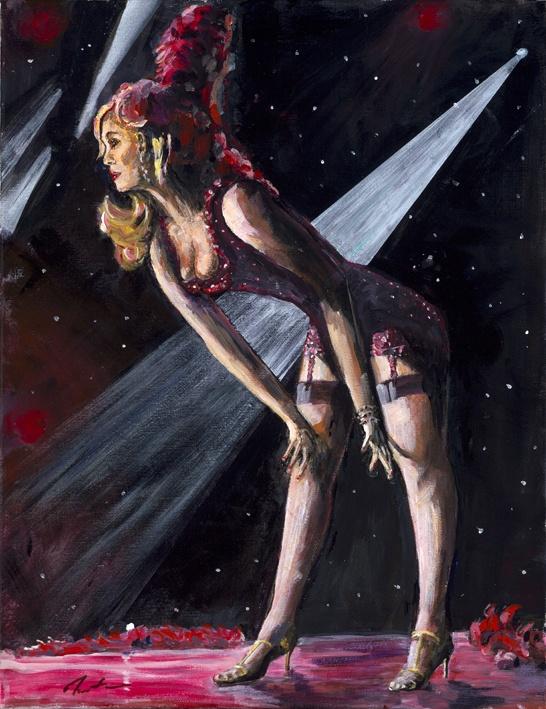 Burlesque Dancer - Well Hello    Original Painting
