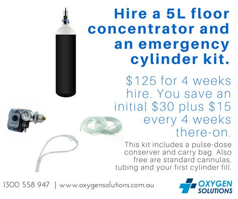 Have you checked out the Oxygen Solutions Promotions page yet?One such ongoing promotion is 5L Floor Concentrator + Cylinder Combo for $125 for 4 weeks hire!http://oxygensolutions.com.au/promotions/