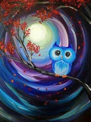 Adorable little owl painting. Swirly moon autumn tree beginner painting idea.
