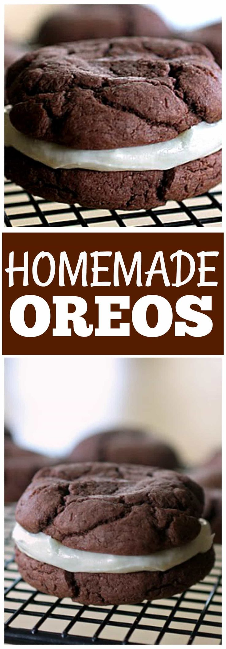 These Homemade Oreos are devil's food cake sandwich cookies with a cream cheese frosting inside. the-girl-who-ate-everything.com