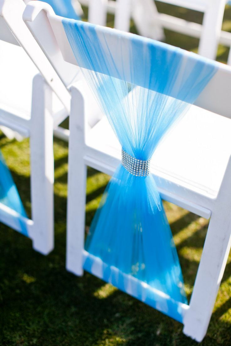 Blue Tulle Wedding Chair Covers with Bling by WeddingJewel on Etsy, $60.00