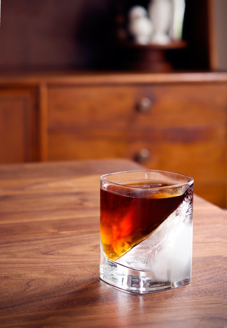 A Clever, Elegant Cocktail Presentation Trick: How to Make an Ice Wedge Glass (for Free!) Pythagoras says, the square of the ice hypoteneuse is equally to the sum of the square of the whiskey and the bitters.