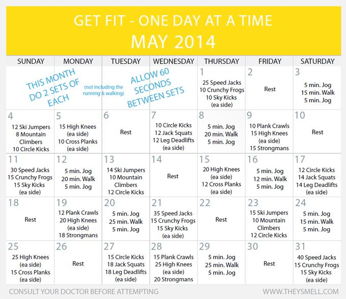 Daily Beginner Workout Plan for May | Workout | Workout ...