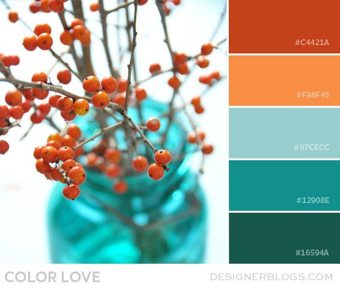 Gorgeous #colorpalette Color Love | Orange and Teal - DesignerBlogs.com