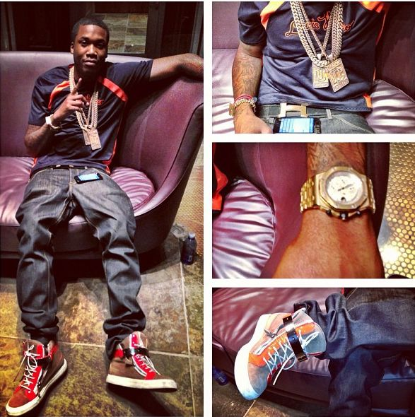 Meek Mill Wearing A Blue And Orange Louis Vutton Shirt