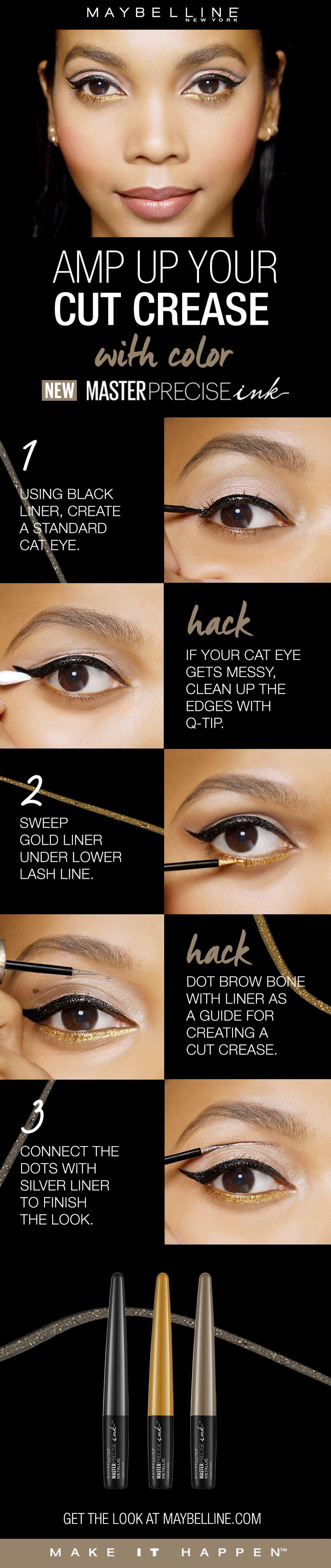 Master Precise Ink Metallic Liquid Liner is a long lasting, waterproof eyeliner with a smart-tip brush. Amp up your cut crease with color!  First, use the black liner to create a standard cat eye.  If your cat eye gets messy, clean up the edges with a q-tip.  Sweep gold liner under the lower lash line.  Dot the brow bone with liner as a guide to create the cut crease.  Lastly, connect the dots with silver liner to finish the look.
