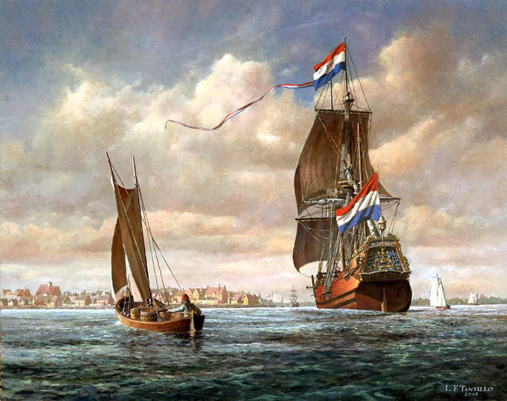 Len Tantillo. Bay of Manhattan, 1660, Looking toward the East River. TROUW, Dutch Merchant Ship of the Dutch West India Company Sailing past. J. Russell Jinishian Gallery, Inc.