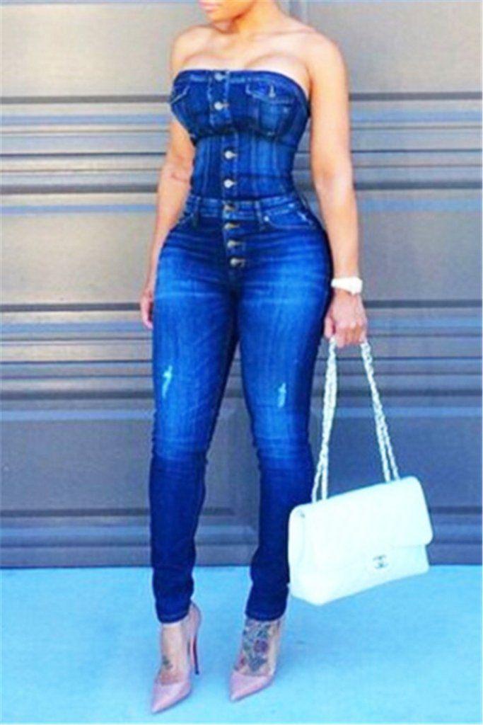 f4a47f6cf2 Blue Denim Bustier Jumpsuit