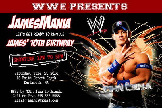 Wwe Party Wrestlemania Invitation Printable John By