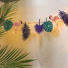 LED Sentiu Rainforest Flamingo Bunting Bandeira Garland Crianças Decoração do Quarto Do Chuveiro de Bebê Festa de Aniversário Decoração Do Jardim(China (Mainland))