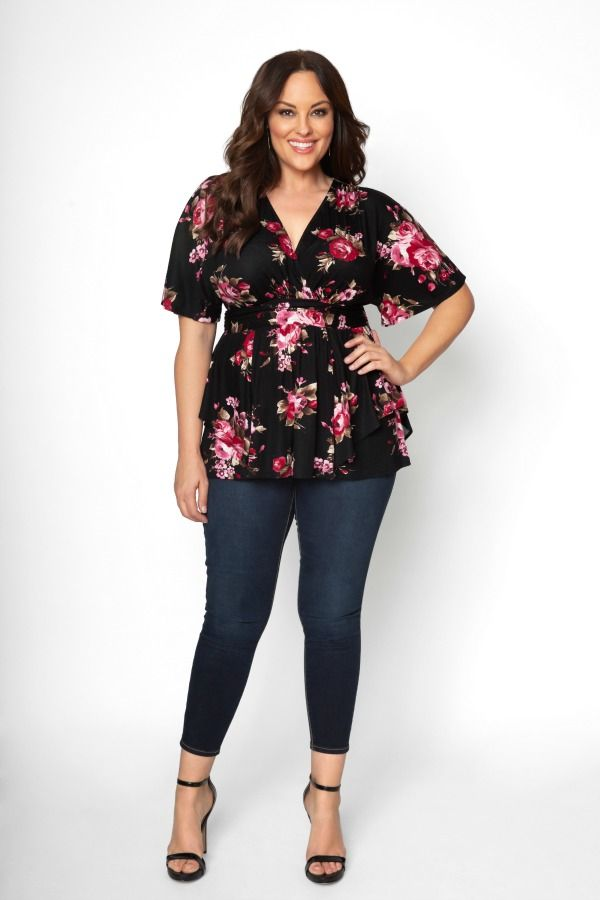 d6c393491f18c No matter what the occasion is, our plus size Promenade Top instantly  dresses you up. Kimono sleeves, an empire waist and faux layered bottom  adds ...