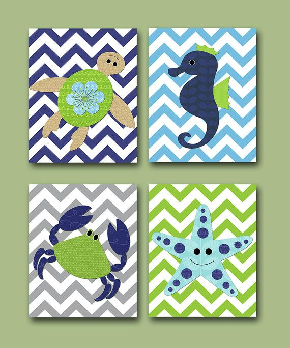 Sea Crab Baby Boy Nursery art print Children Wall Art Baby Room Decor Kids Print set of 4 8 x 10 sea crab turtle blue green via Etsy