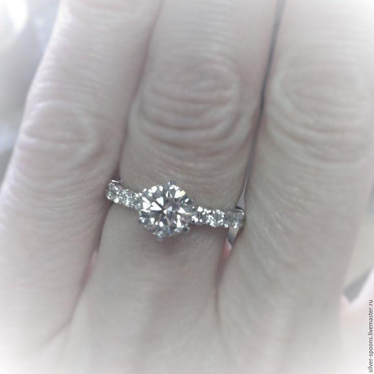 """Купить """"Долгожданная помолвка"""". Обручальное кольцо с драгоценным камнем. - кольцо, обручальное кольцо, массивное кольцо"""