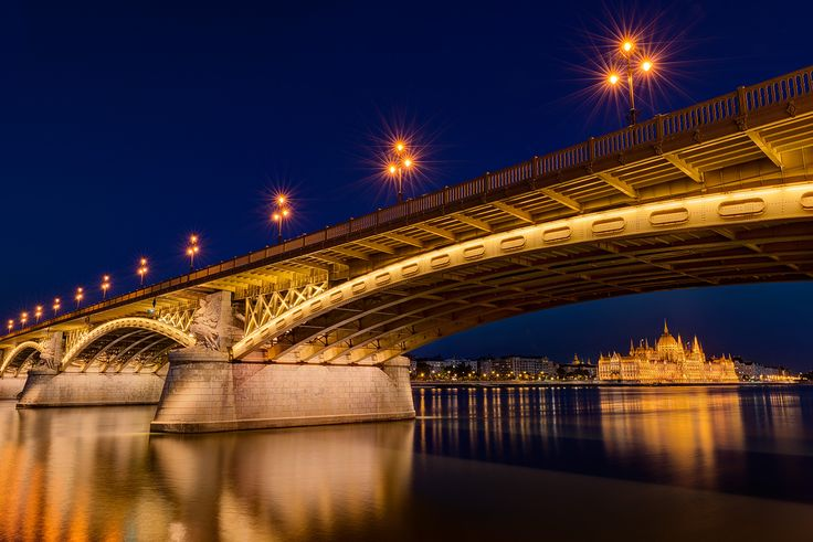 Margaret Bridge in Budapest and the Hungarian Parliament