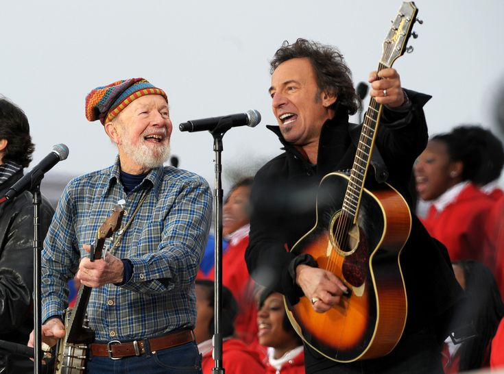 """Pete Seeger and Bruce Springsteen performed during the """"We are One: Inaugural Celebration at the Lincoln Memorial"""" in January 2009."""