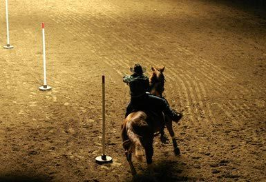 Learn the Basics of Pole Bending with Your Horse: A rider rounding the last pole during pole bending..
