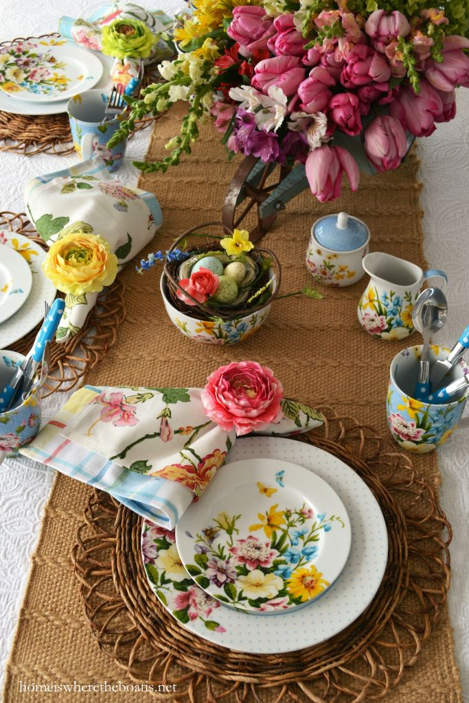 Spring tablescape with Katie Alice English Garden | Home is Where the Boat Is #ad #spring #tablescape