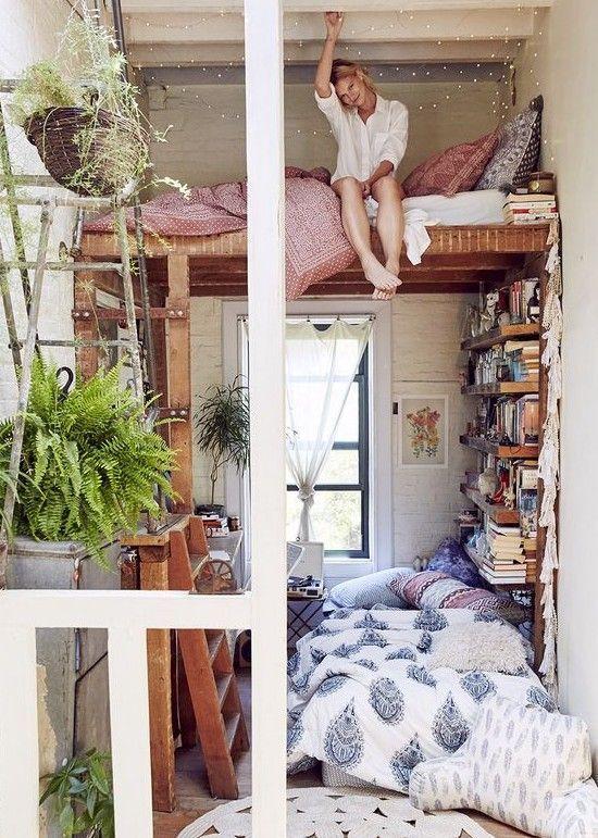Aufbau einer kleinen Wohnung mit hohem Bett – #Appartement #Aufstellen #Hoc …