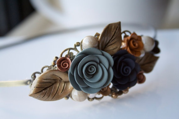 Flower headband field of flower polymer clay by FloraJewelryShop