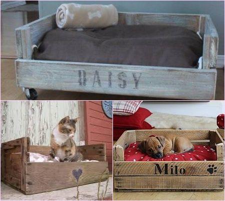 Decoración con palets y cajas de madera. Cajon mascotas