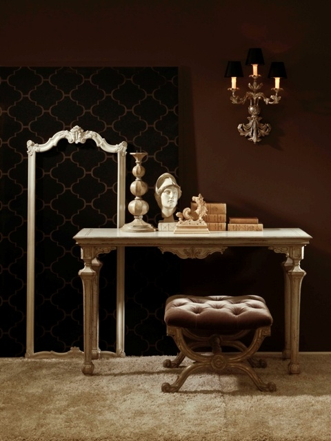 Item N.1303 Neoclassical Console table Wooden Top Vanwood  Item N. 1271 G Mirror Frame Beginning '700 Canova  Item N.1308 Sconce Louis XVI Style Argento antico  Item N.1292 Stool Empire Style Beginning XIX C.  Item N. 145 Athena's Head Sculpture Trianon  Item N.449 Sea Horse Ornament Provence  Item N.1179 G Candlestick Scottish Style Provence