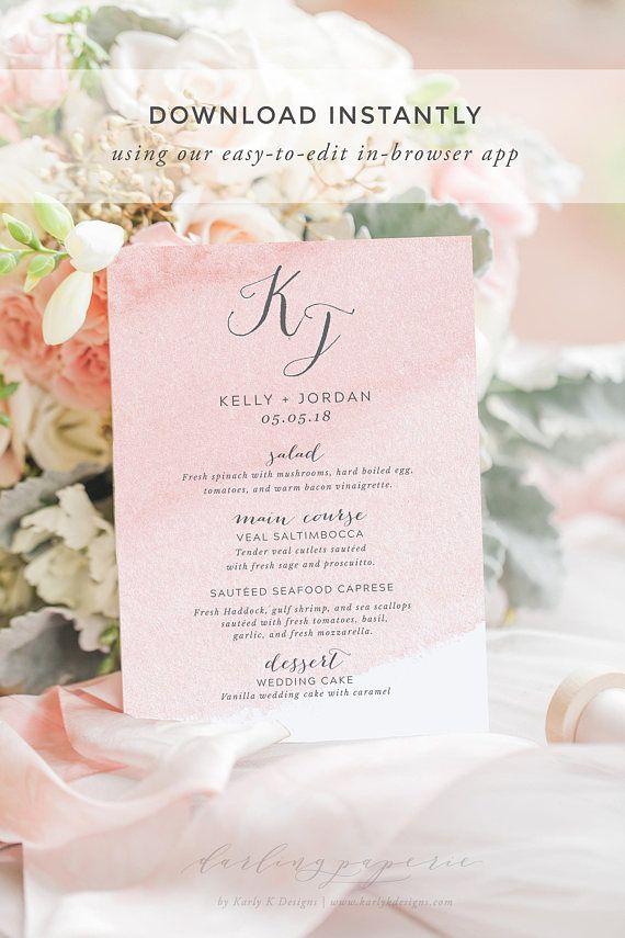 Blush Wedding Menu Template Printable Cards Calligraphy Rustic Table Decor
