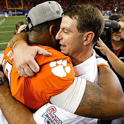 Clemson QB Tajh Boyd celebrates his big Chick-fil-A Bowl win with head coach Dabo Swinney. (US Presswire)