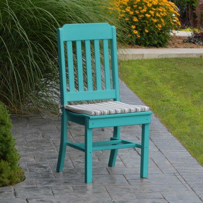 A & L Furniture Poly Traditional Outdoor Dining Side Chair - 4101-AB ARUBA BLUE