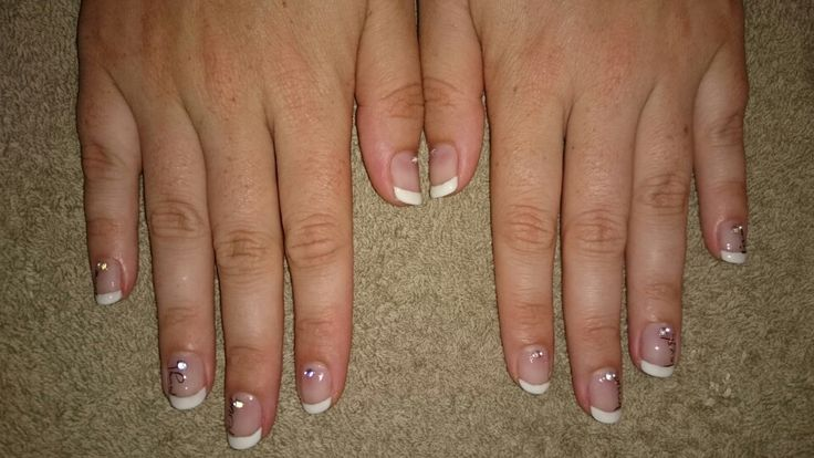 Elegant french natural Overlay with subtle diamanté and nail art done with vinyl stickers! Done by Vasti Viljoen on Julie-Anne Marais