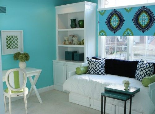 <3 the desk, the cabinet with bookcase, color on the walls and that amazing day bed!!