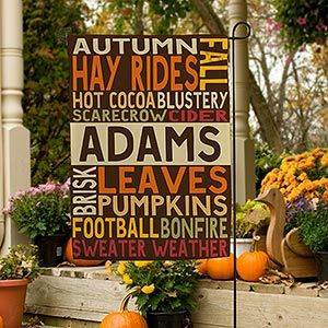 LOVE this personalized Fall Garden Flag! The beautiful fall colors and fun design is the perfect fall décor!