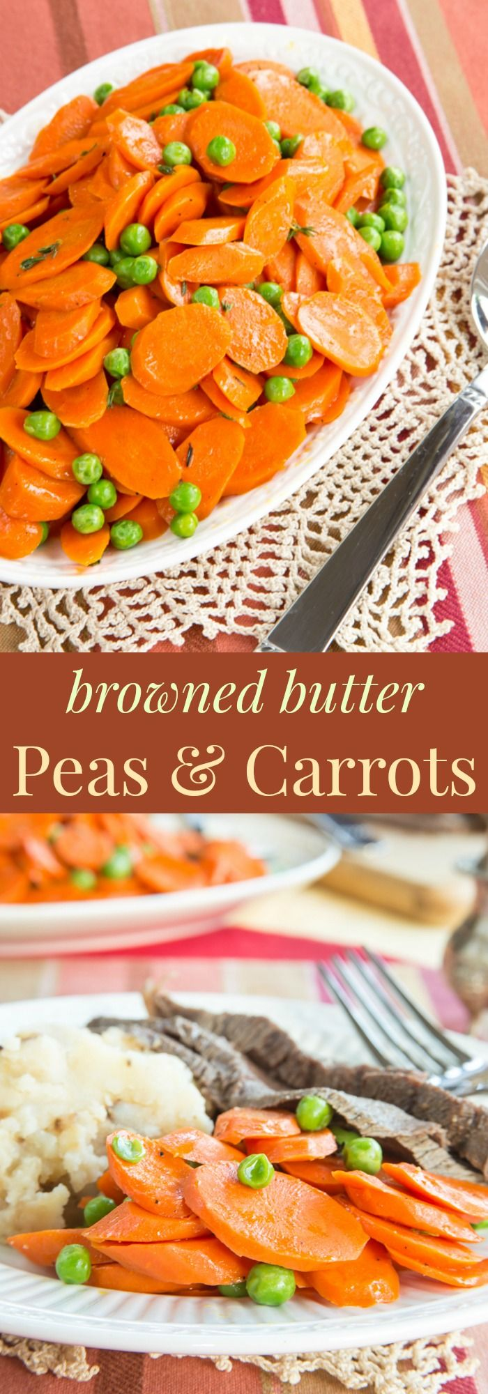 Browned Butter Peas and Carrots recipe. A simple way to add incredible flavor to this basic vegetable side dish recipe without a lot of fuss. Quick, easy, healthy, and flavorful! gluten free, vegetarian
