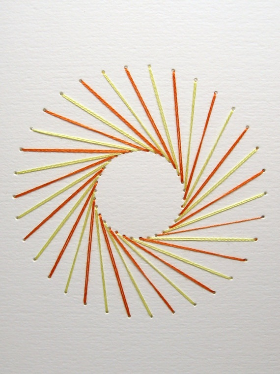 Geometric Sunburst, Embroidered Card, Orange and Yellow. Etsy.