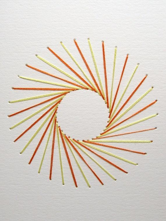 Geometric Sunburst, Embroidered Card, Orange and Yellow. Etsy.