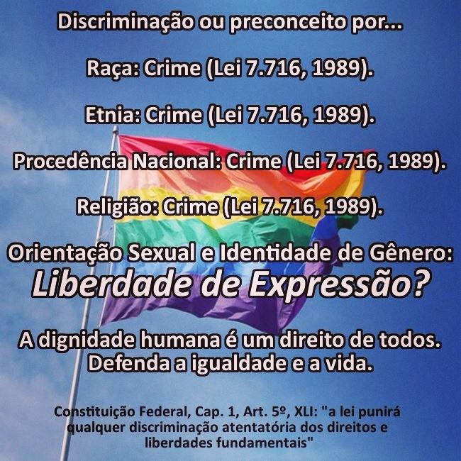 O Senado brasileiro precisa aprovar o Projeto de Lei da Câmara (PLC) 122/2006, que propõe a criminalização dos preconceitos motivados pela orientação sexual e pela identidade de gênero, equiparando-os aos demais preconceitos que já são objetos da Lei 7716/89.