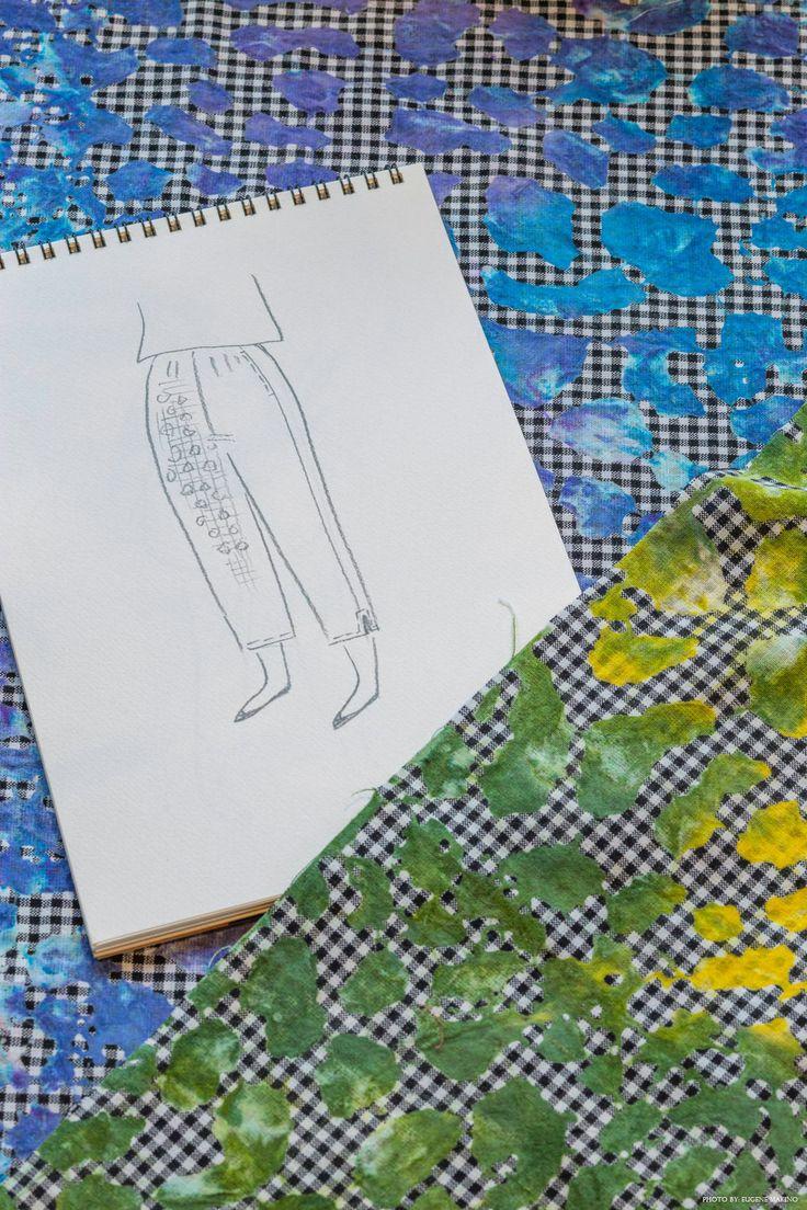 GRAPE Motomachi / Batik Print Sabrina Pants  #cotton #batik #sabrinapants #handsketch #design #grapemotomachi