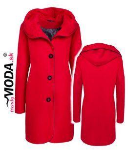Červený zimný kabát pre moletky– trendymoda.sk