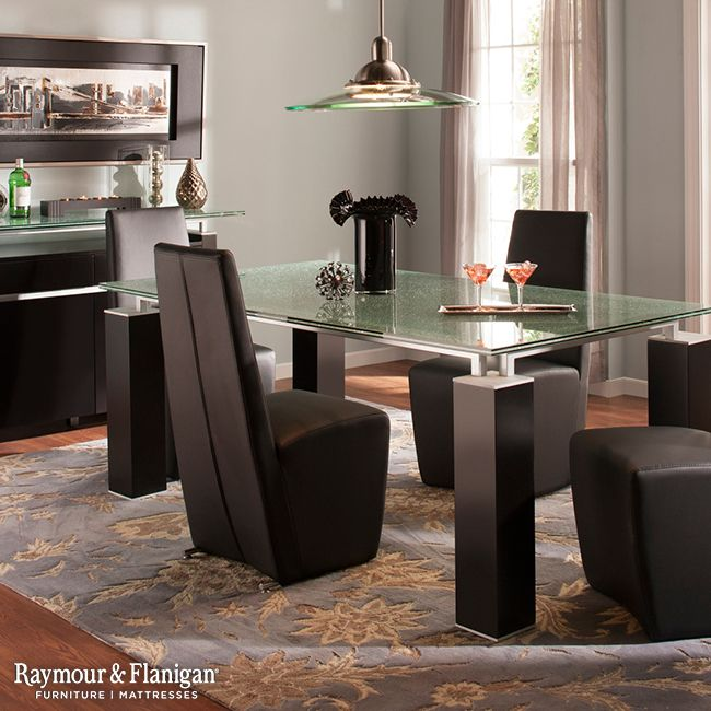 Give This High Fashion Ritz Glass Dining Set A Try. Its Cracked Glass  Tabletop And Leather Look Chairs Will Dazzle Your Dinner Guests With  Charisma And ...