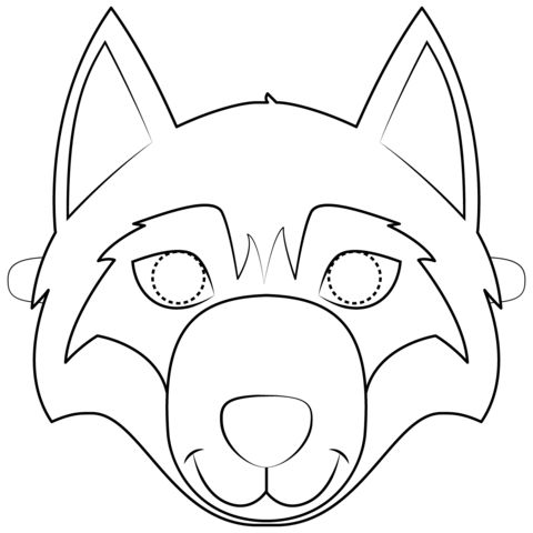 Wolf Mask Coloring page | Animal mask templates, Wolf mask ...